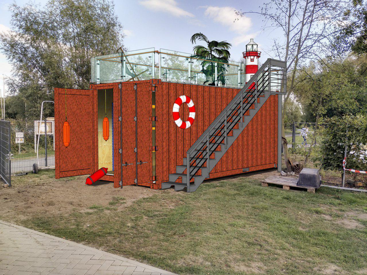 Container mit Dachterrasse